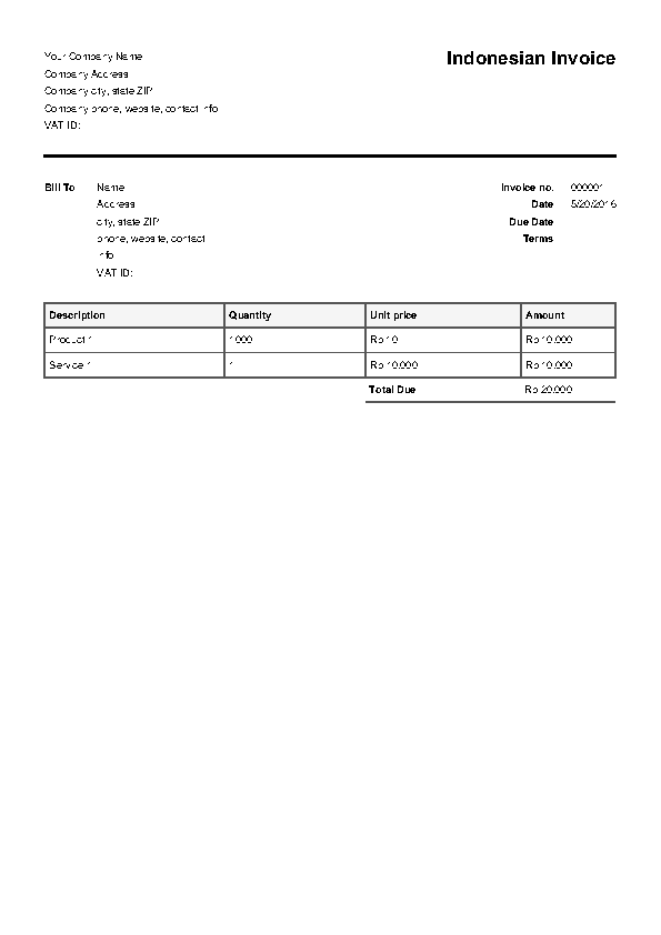 Indonesian Invoice Template