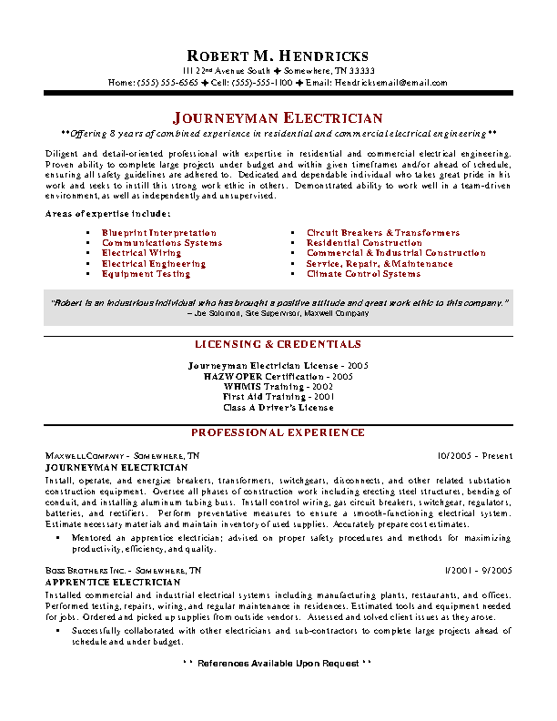 Journeyman Electrician Resume Maintenance