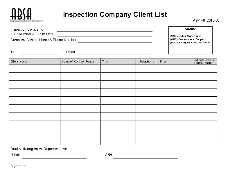 Inspection Company Client List