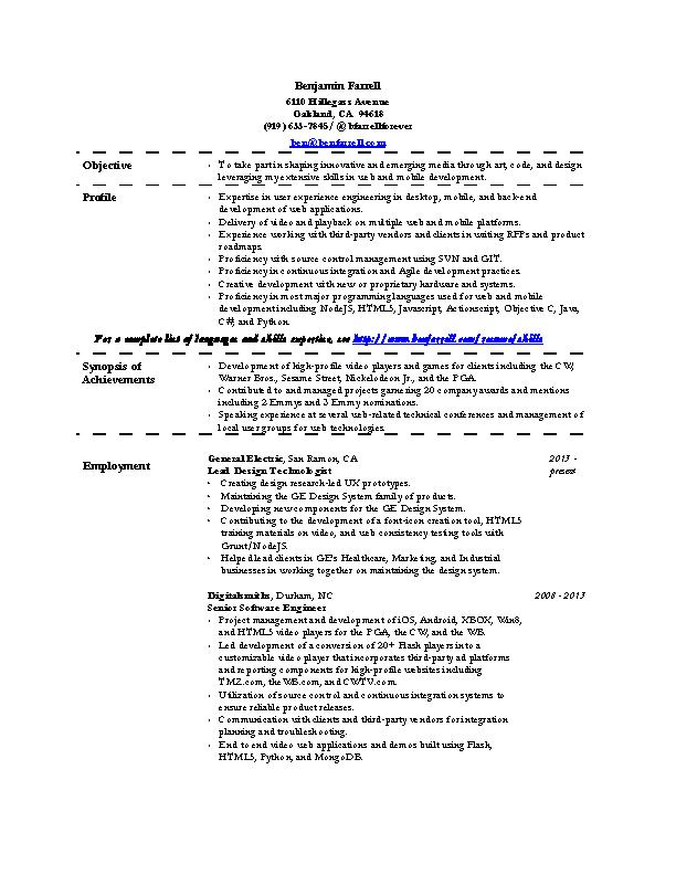 Interactive Developer Resume