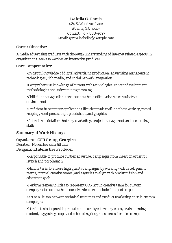 Interactive Producer Resume