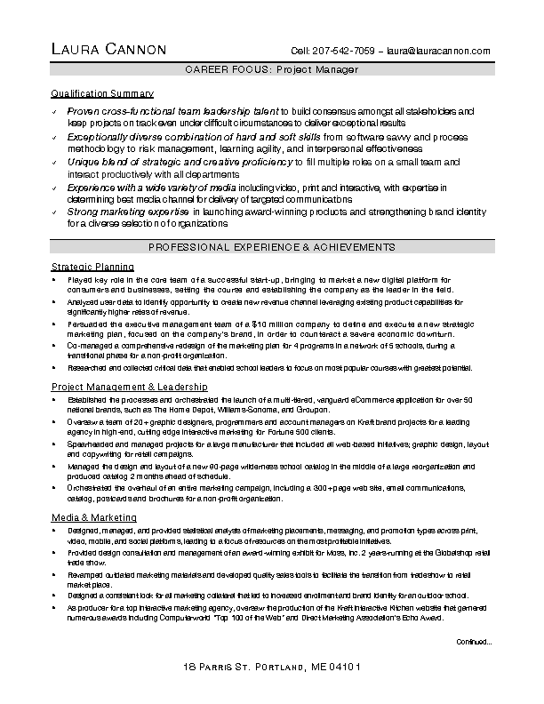 Interactive Project Manager Resume