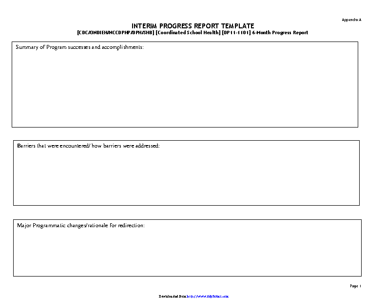 Interim Progress Report Template