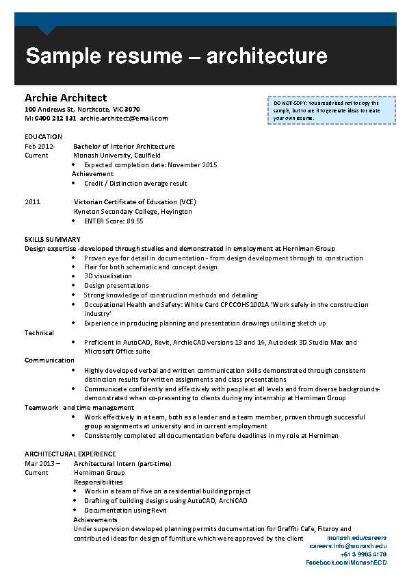 Interior Design Draftsman Resume 1