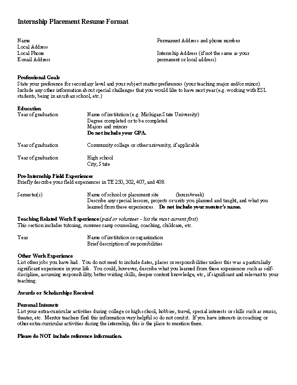 Internship Optometrist Resume