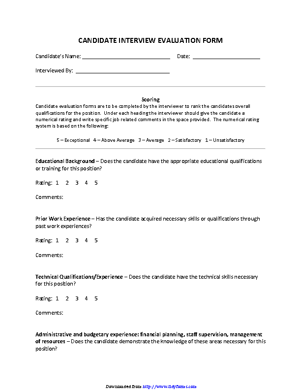 Interview Evaluation Form 4