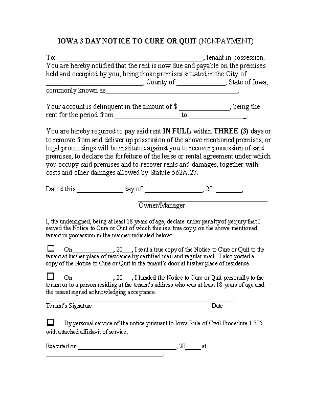 Iowa 3 Day Notice To Quit Non Payment Of Rent