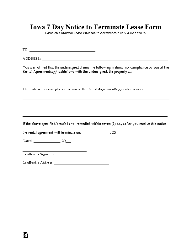 Iowa 7 Day Notice To Quit Noncompliance Form