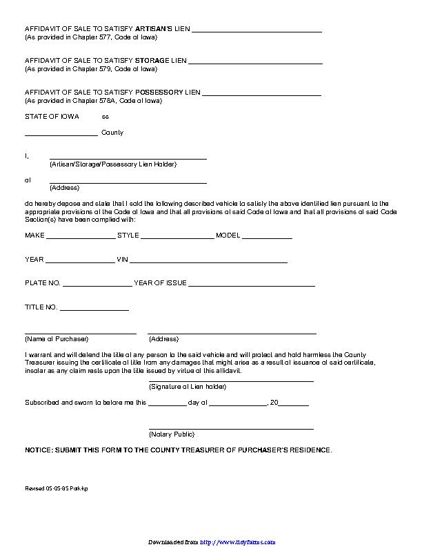 Iowa Affidavit For Artisan Storage And Possessory Lein Form