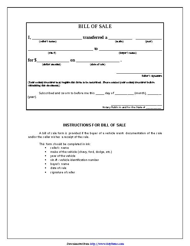 Iowa Bill Of Sale Form