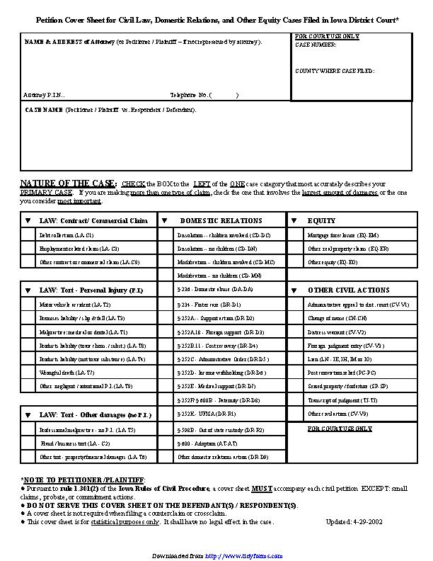 Iowa Civil Petition Cover Sheet