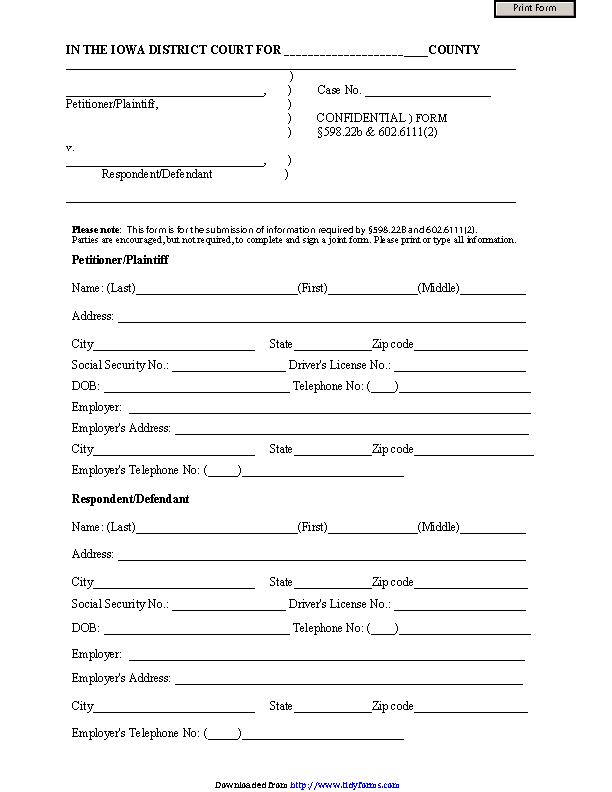 Iowa Confidential Information Sheet