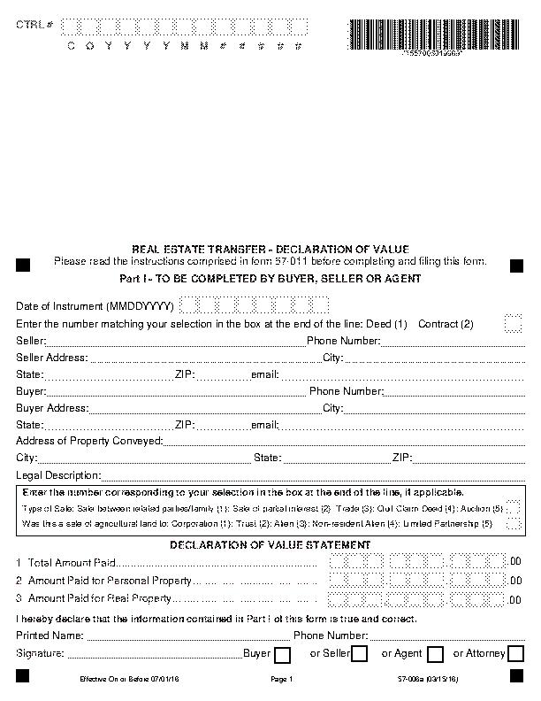 Iowa Declaration Of Value Form