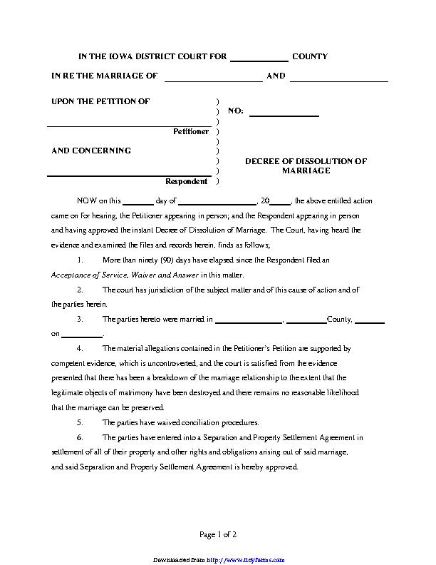 Iowa Decree Of Dissolution Form