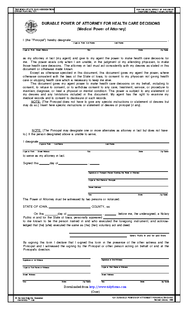 Iowa Durable Health Care Power Of Attorney Form