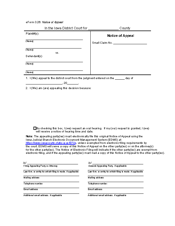Iowa Eforms 3.26 Notice Of Appeal