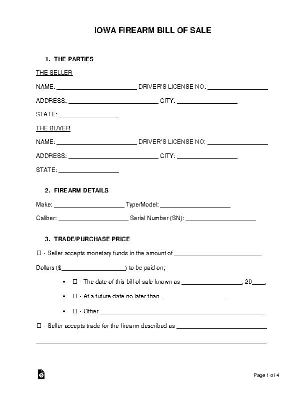 Iowa Firearm Bill Of Sale