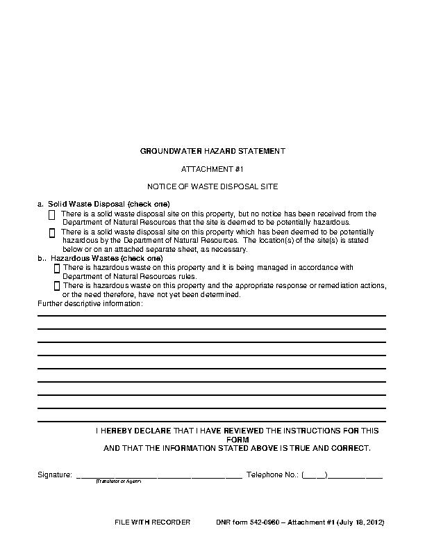 Iowa Groundwater Hazard Statement Attachment 1