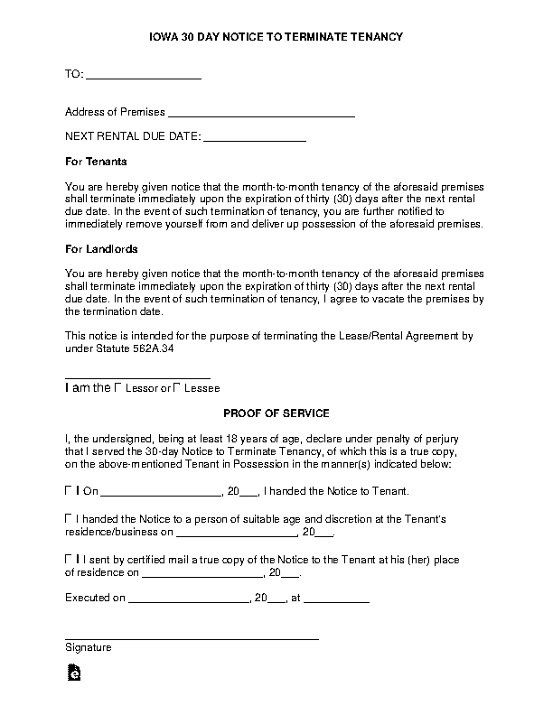 Iowa Lease Termination Letter Form