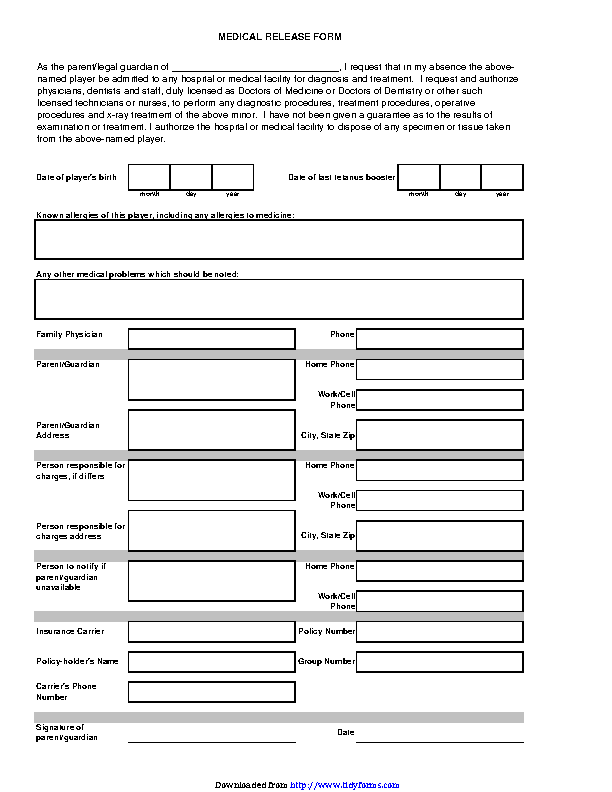 Iowa Medical Release Form