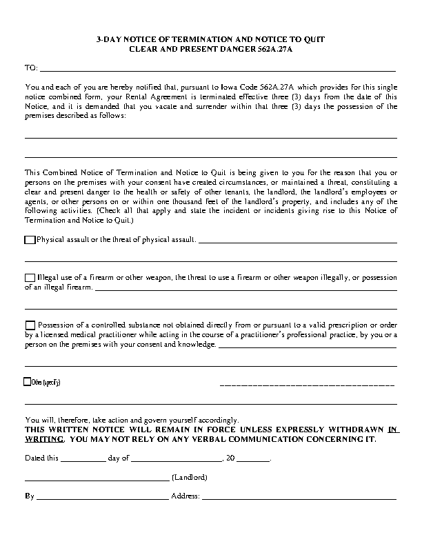 Iowa Notice To Quit Clear And Present Danger Form