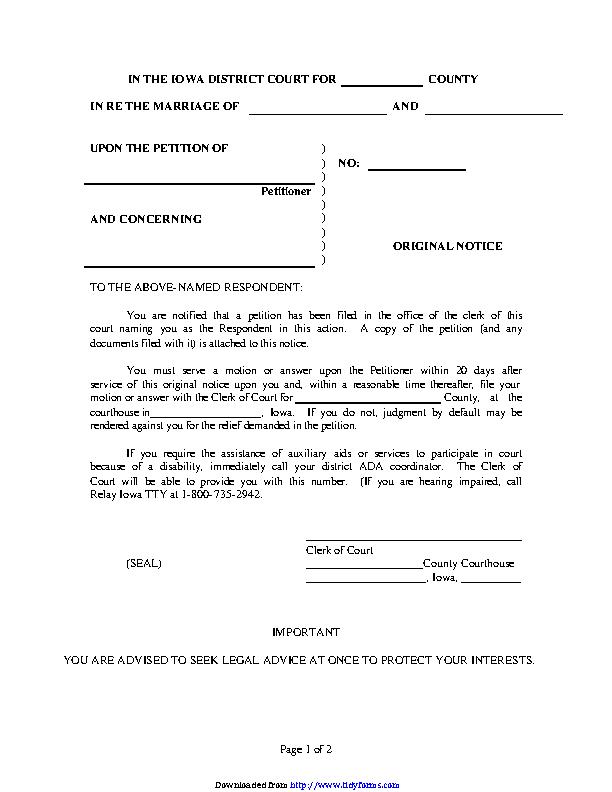 Iowa Original Notice Form