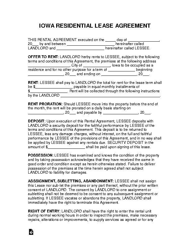 Iowa Residential Lease Agreement Template