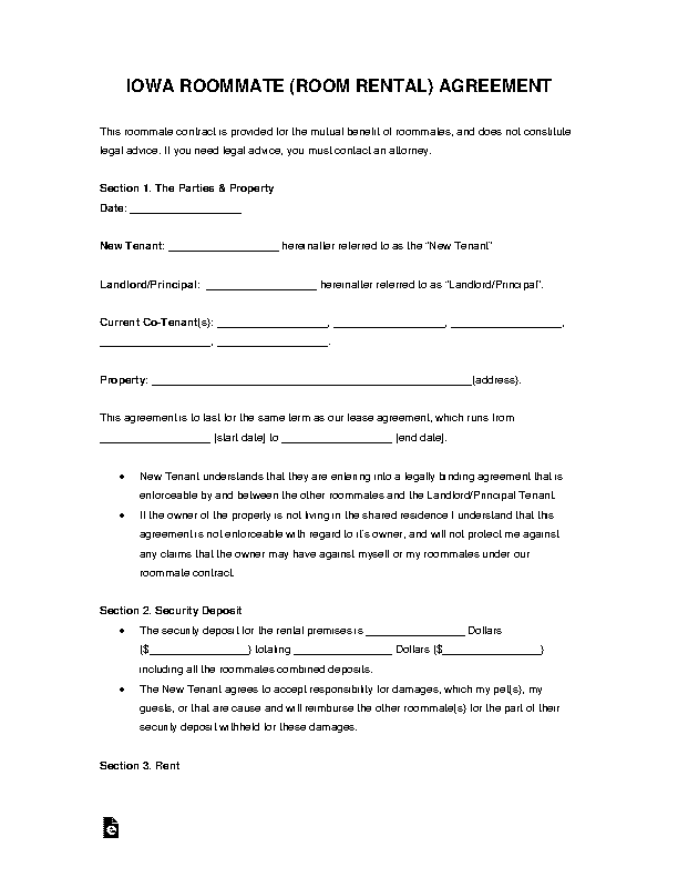 Iowa Room Rental Agreement Template