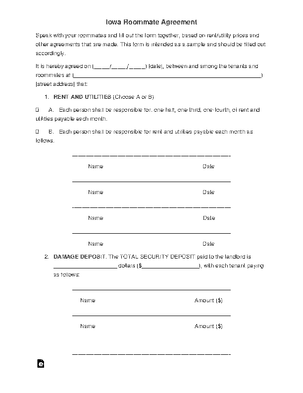 Iowa Roommate Agreement Template