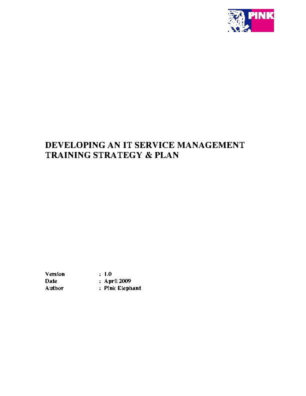 It Service Management Training Strategy Plan Pdf Template1