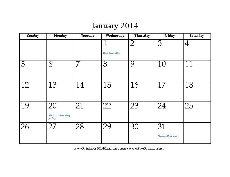 January 2014 Calendar 2