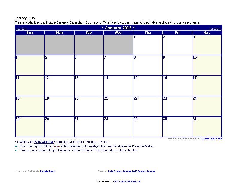 January 2015 Calendar 1