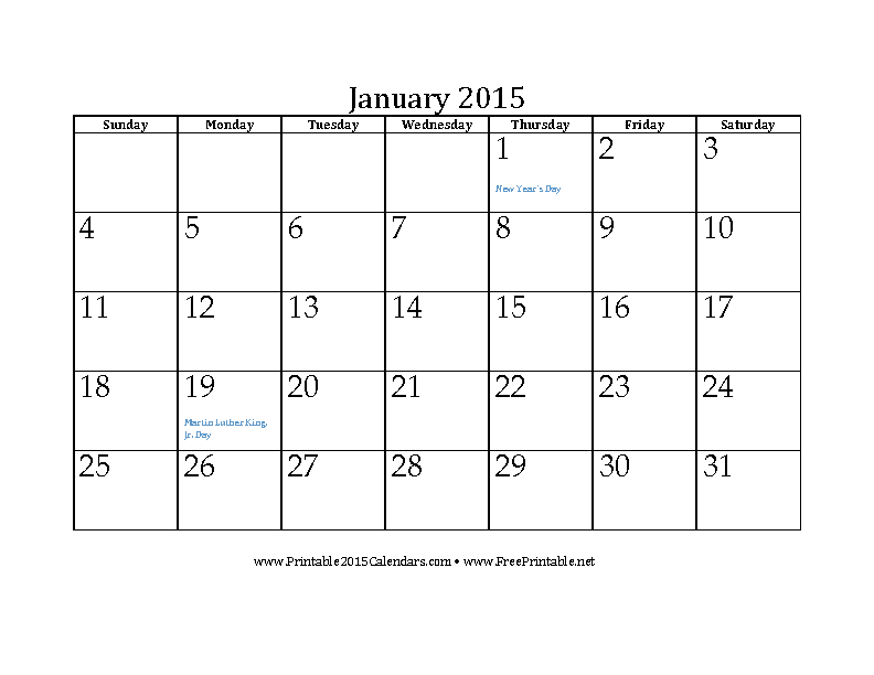 January 2015 Calendar 3