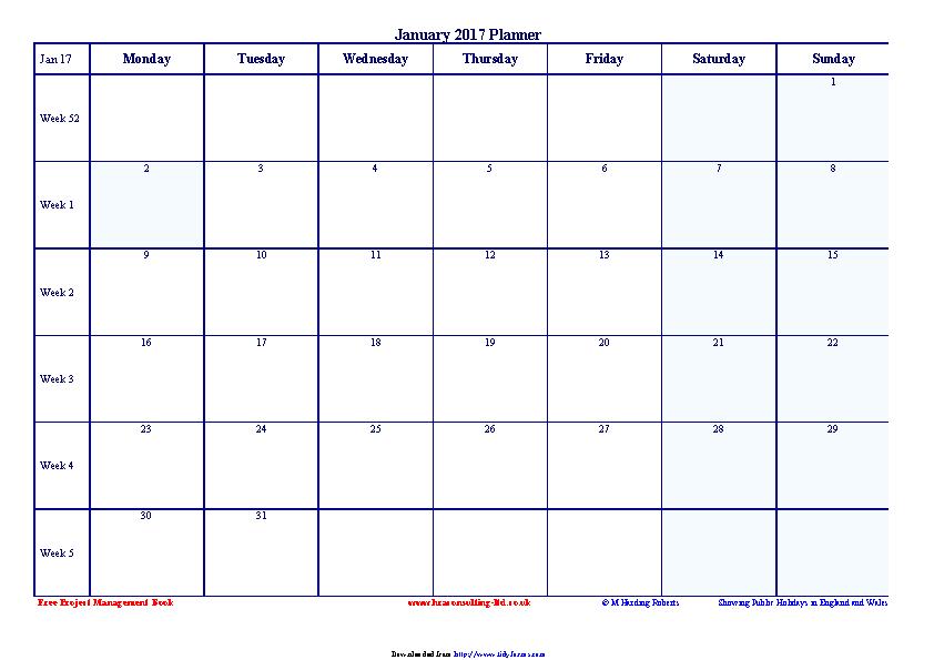January 2017 Calendar 2