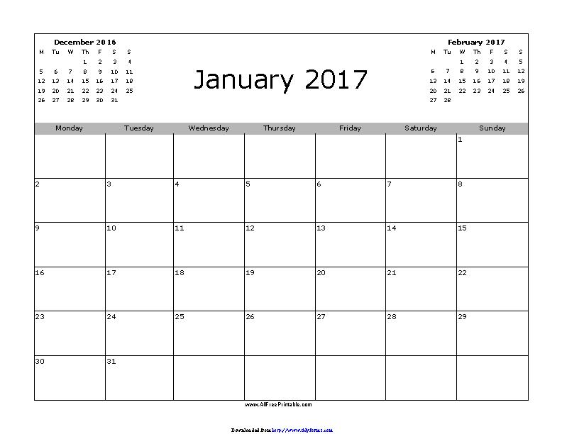 January 2017 Calendar 3