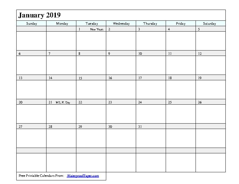 January 2019 Calendar 1