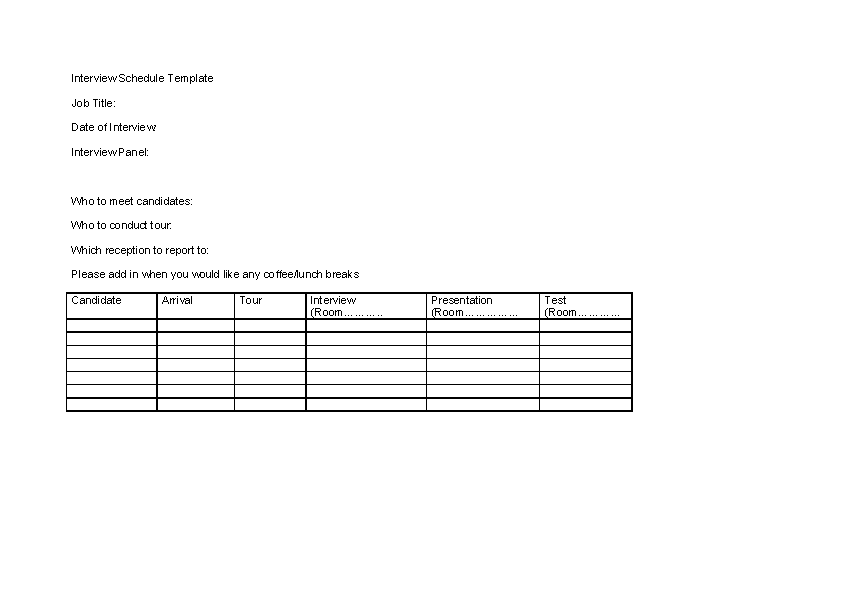 Job Interview Schedule Template