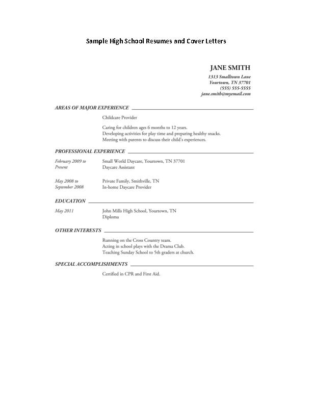 Job Resume For High School Student Pdfsimpli