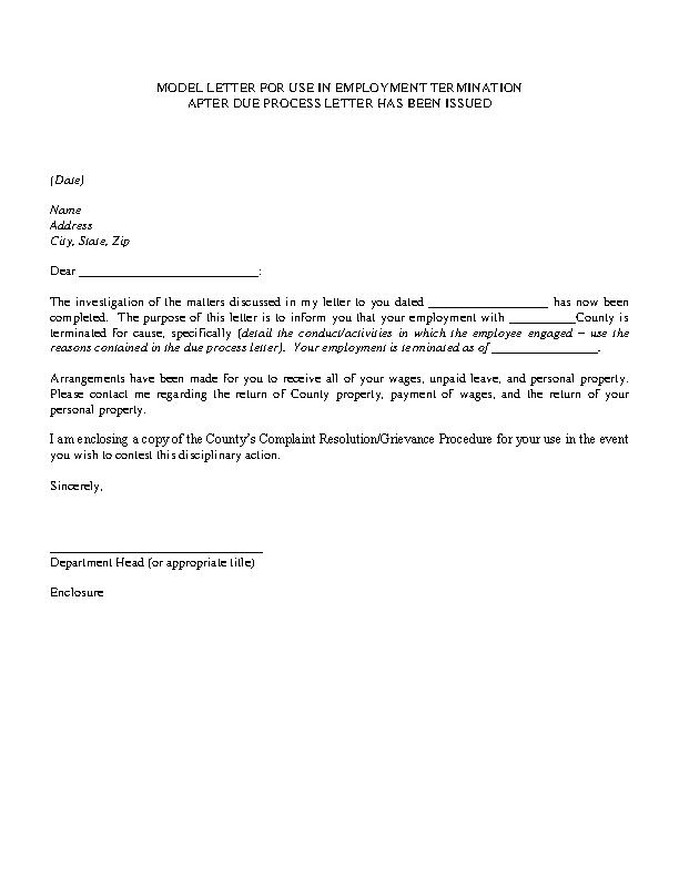 Job Termination Letter - PDFSimpli
