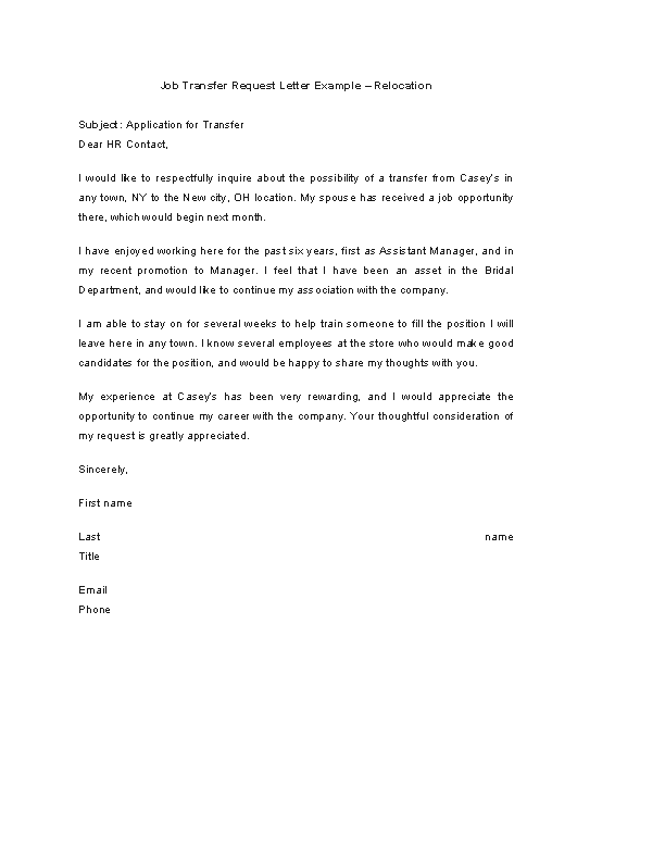 Job Transfer Request Letter Example Relocation - PDFSimpli