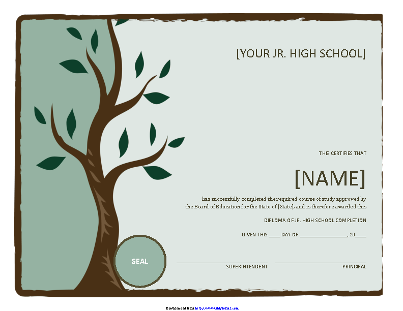 Jr High School Diploma With Tree