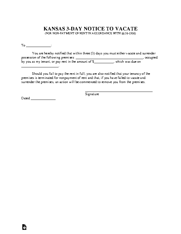 Kansas 3 Day Notice To Quit Nonpayment Of Rent