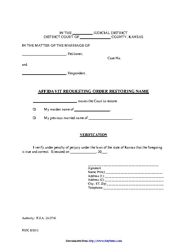 Kansas Affidavit And Order Restoring Name Form