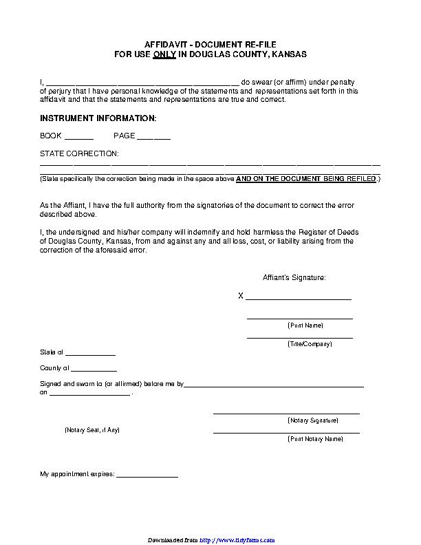 Kansas Affidavit Document Re File Form