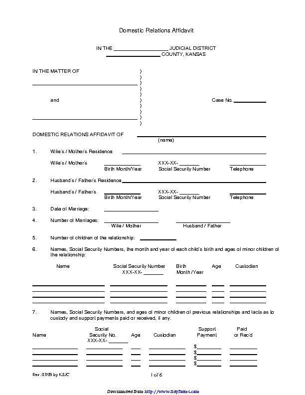 Kansas Domestic Relations Affidavit Form