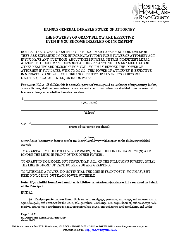 power of attorney form filled out  Kansas General Durable Power Of Attorney Form - PDFSimpli
