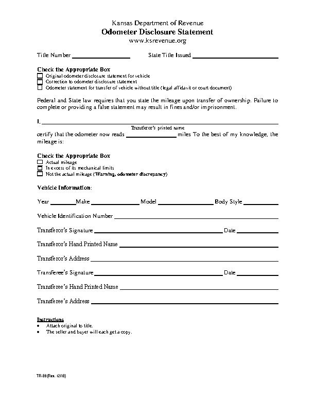 Kansas Odometer Dislcosure Statement Form Tr59
