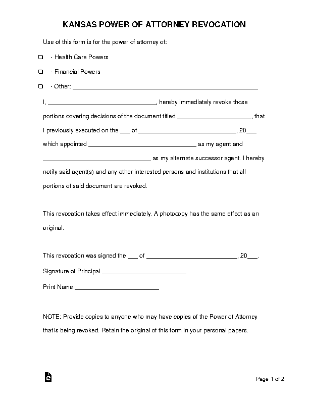 Kansas Power Of Attorney Revocation Form