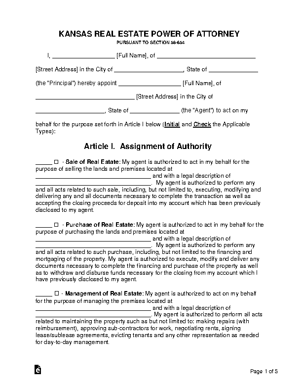 Kansas Real Estate Power Of Attorney Form