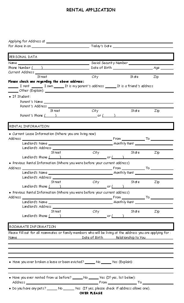 Kansas Rental Application Form